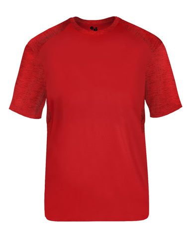 Badger 2178 Tonal Blend Youth Panel Tee - Red Red Tonal Blend - Baseball Apparel, Bowling, Fanwear, Lacrosse/Field Hockey, Soccer, Training/Running - Hit A Double