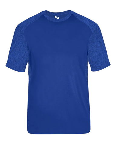 Badger 2178 Tonal Blend Youth Panel Tee - Royal Royal Tonal Blend - Baseball Apparel, Bowling, Fanwear, Lacrosse/Field Hockey, Soccer, Training/Running - Hit A Double