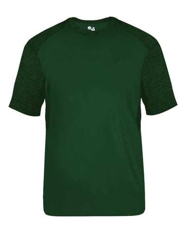Badger 2178 Tonal Blend Youth Panel Tee - Forest Forest Tonal Blend - Baseball Apparel, Bowling, Fanwear, Lacrosse/Field Hockey, Soccer, Training/Running - Hit A Double