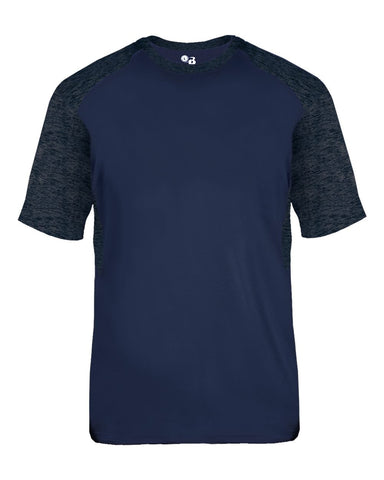 Badger 2178 Tonal Blend Youth Panel Tee - Navy Navy Tonal Blend - Baseball Apparel, Bowling, Fanwear, Lacrosse/Field Hockey, Soccer, Training/Running - Hit A Double