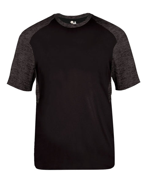 Badger 2178 Tonal Blend Youth Panel Tee - Black Black Tonal Blend - Baseball Apparel, Bowling, Fanwear, Lacrosse/Field Hockey, Soccer, Training/Running - Hit A Double