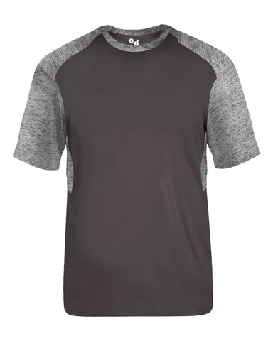 Badger 2178 Tonal Blend Youth Panel Tee - Graphite Graphite Tonal Blend - Baseball Apparel, Bowling, Fanwear, Lacrosse/Field Hockey, Soccer, Training/Running - Hit A Double