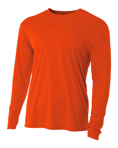 A4 N3165 Cooling Performance Long Sleeve Crew - Athletic Orange