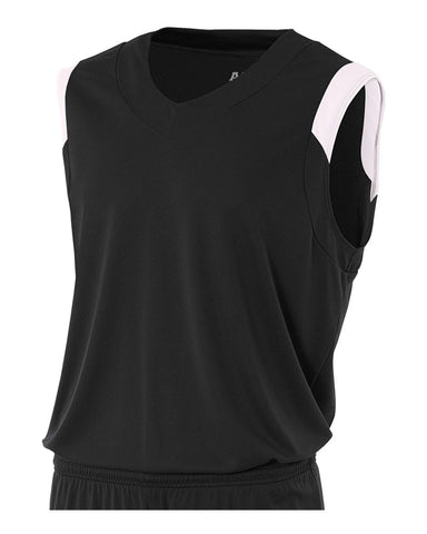 A4 N2340 Moisture Management V-neck Muscle - Black White