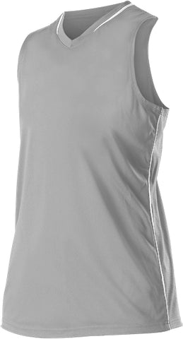 Alleson 551JWY Girl's Racerback Fastpitch Jersey - Gray White