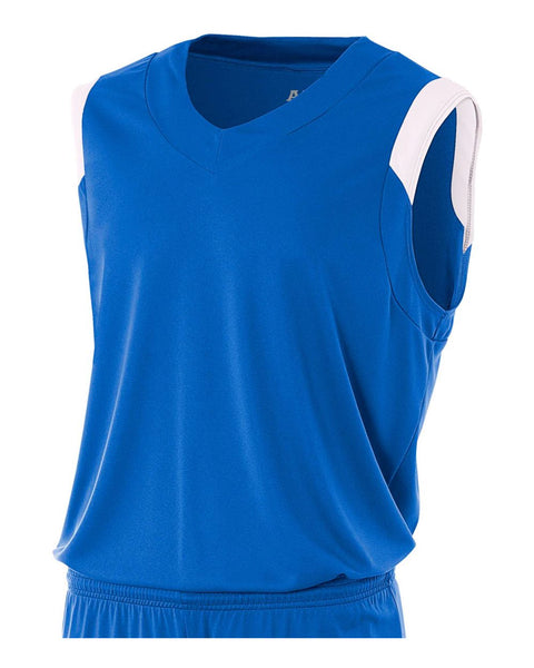 A4 N2340 Moisture Management V-neck Muscle - Royal White