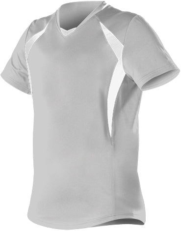 Alleson 552JG Girl's Short Sleeve Fastpitch Jersey - Gray White