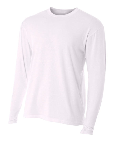 A4 N3221 Fusion Cotton Long Sleeve Performance Crew - White