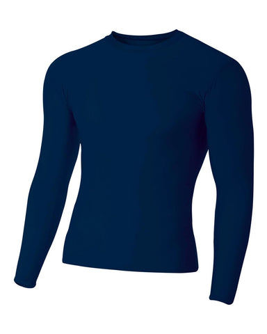 A4 N3133 Long Sleeve Compression Crew - Navy