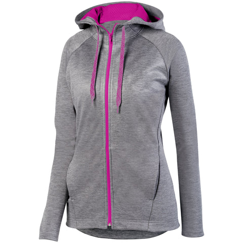 Augusta 5558 Ladies Zoe Tonal Heather Full Zip Hoody - Graphite Power Pink