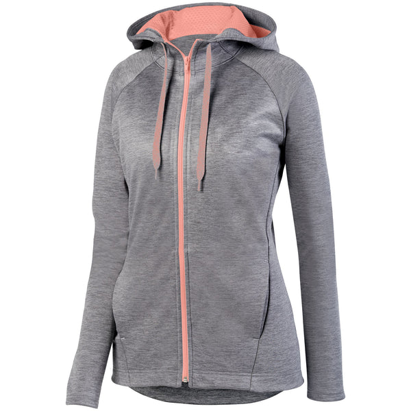 Augusta 5558 Ladies Zoe Tonal Heather Full Zip Hoody - Graphite Coral