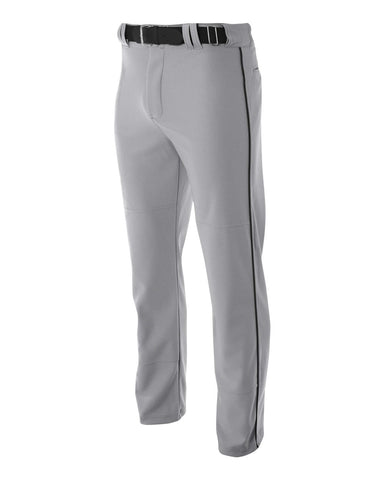 A4 N6162 Pro Style Open Bottom Baggy Cut Baseball Pant - Gray Black