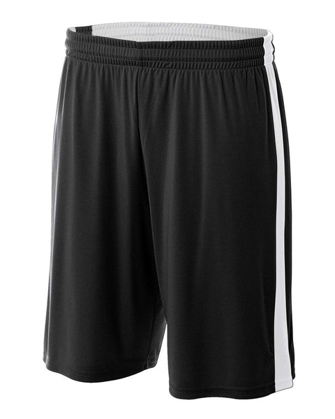 "A4 NB5284 Youth Reversible Moisture Management 8"" Short - Black White"