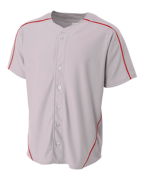 A4 NB4214 Youth Warp Knit Baseball Jersey - Gray Scarlet
