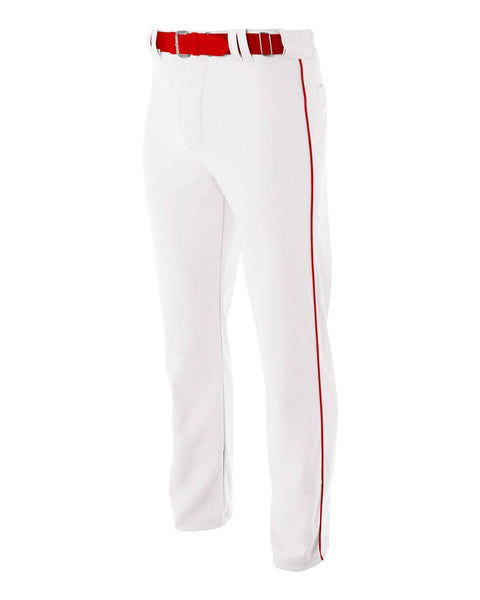 A4 N6162 Pro Style Open Bottom Baggy Cut Baseball Pant - White Scarlet