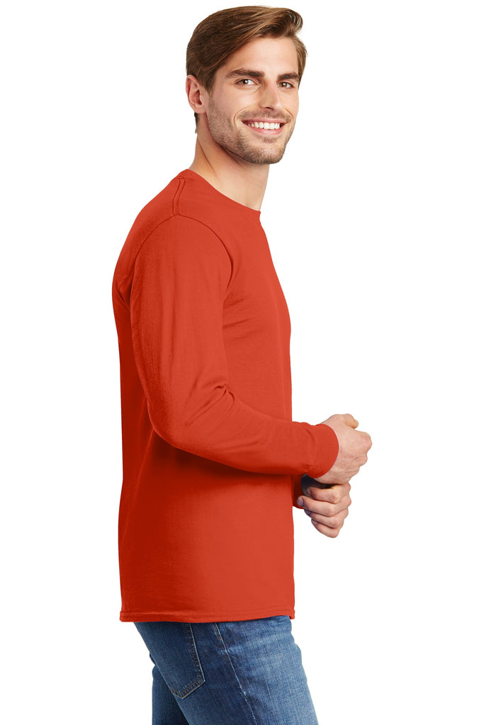 Hanes 5586 Tagless 100% Cotton Long Sleeve T-Shirt - Orange - HIT A Double