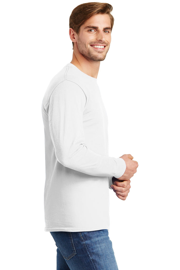 Hanes 5586 Tagless 100% Cotton Long Sleeve T-Shirt - White - HIT A Double