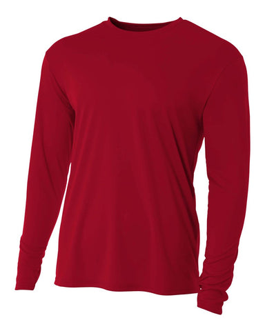 A4 N3165 Cooling Performance Long Sleeve Crew - Cardinal