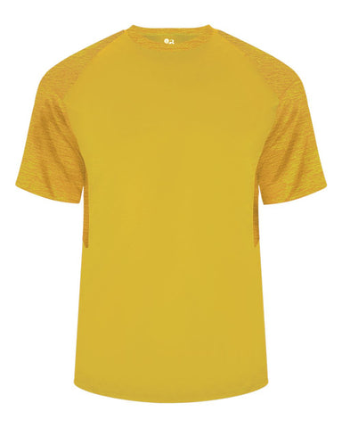 Badger 2178 Tonal Blend Youth Panel Tee - Gold Gold Tonal Blend - Baseball Apparel, Bowling, Casual Wear, Lacrosse/Field Hockey, Soccer, Training/Running - Hit A Double - 1