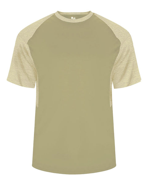 Badger 4178 Tonal Blend Panel Tee - Vegas Gold Vegas Gold Tonal Blend - Baseball Apparel, Softball Apparel, Football, Soccer, Tennis, Lacrosse/Field Hockey, Band, Bowling, Training/Running, Casual Wear - Hit A Double - 1