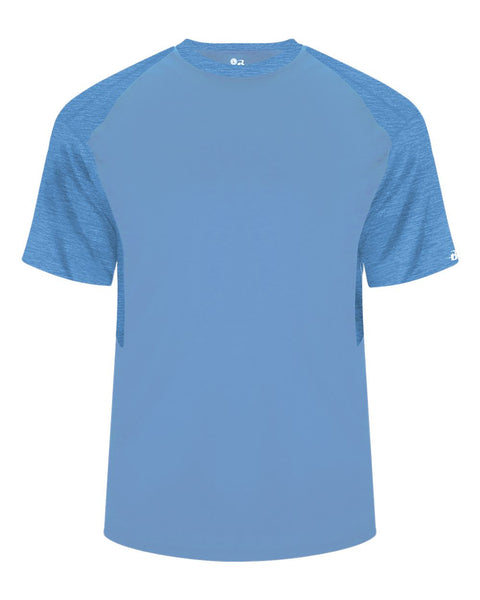 Badger 2178 Tonal Blend Youth Panel Tee - Columbia Blue Columbia Blue Tonal Blend - Baseball Apparel, Bowling, Casual Wear, Lacrosse/Field Hockey, Soccer, Training/Running - Hit A Double - 1