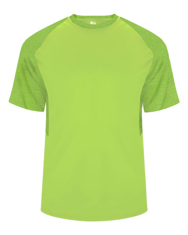 Badger 2178 Tonal Blend Youth Panel Tee - Lime Lime Tonal Blend - Baseball Apparel, Bowling, Casual Wear, Lacrosse/Field Hockey, Soccer, Training/Running - Hit A Double - 1
