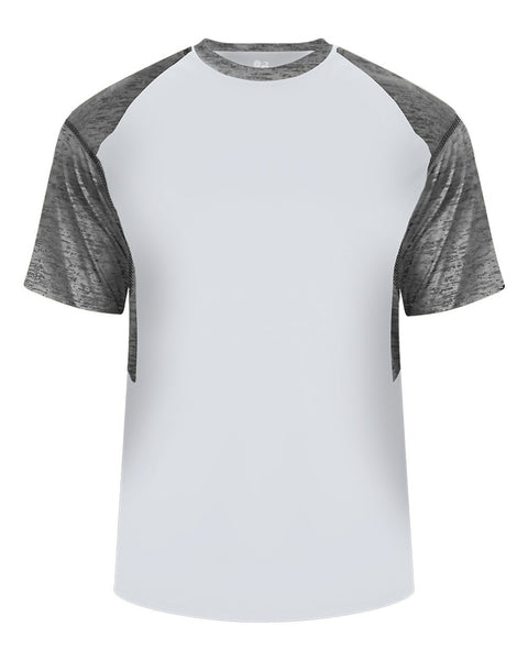 Badger 2178 Tonal Blend Youth Panel Tee - Silver Graphite Tonal Blend - Baseball Apparel, Bowling, Casual Wear, Lacrosse/Field Hockey, Soccer, Training/Running - Hit A Double - 1