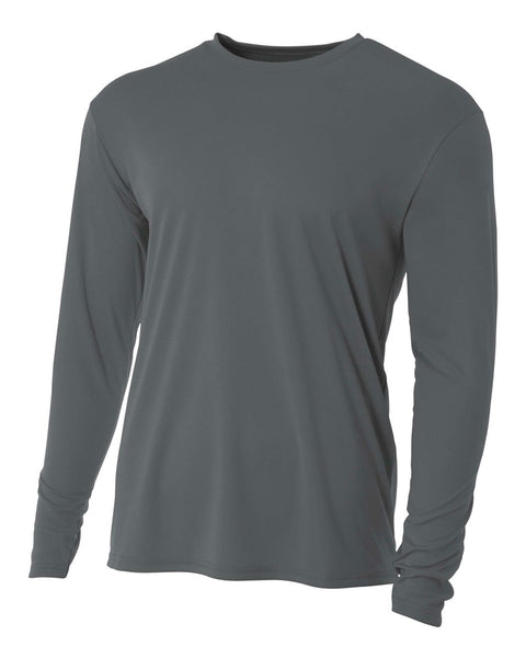 A4 N3165 Cooling Performance Long Sleeve Crew - Graphite