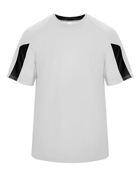 Badger 4176 Striker Tee - White Black - Baseball Apparel, Softball Apparel, Football, Soccer, Tennis, Lacrosse/Field Hockey, Band, Bowling, Training/Running, Casual Wear - Hit A Double - 1