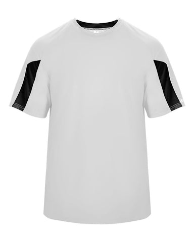 Badger 2176 Striker Youth Tee - White Black - Baseball Apparel, Softball Apparel, Football, Soccer, Tennis, Lacrosse/Field Hockey, Band, Bowling, Training/Running, Casual Wear - Hit A Double - 1