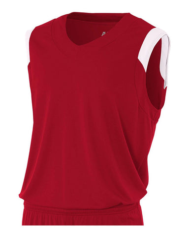 A4 N2340 Moisture Management V-neck Muscle - Cardinal White