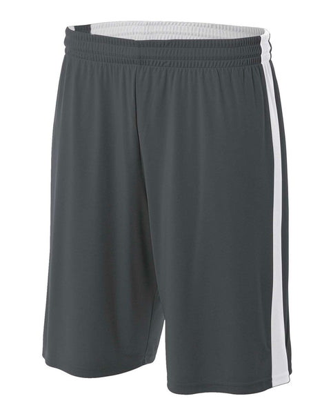 "A4 NB5284 Youth Reversible Moisture Management 8"" Short - Graphite White"