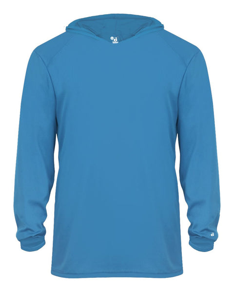 Badger 2105 B-Core Long Sleeve Youth Hood Tee - Electric Blue - HIT A Double
