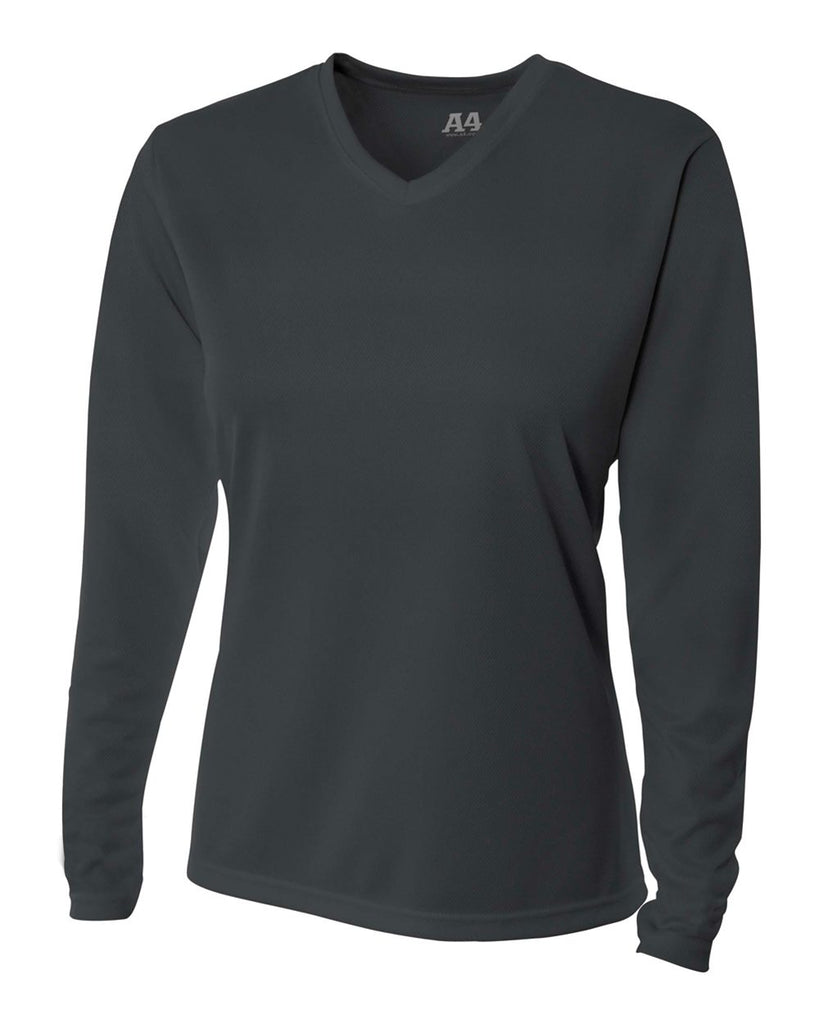 A4 NW3255 Women's Long Sleeve V-Neck Birds Eye Mesh Tee - Graphite - HIT A Double