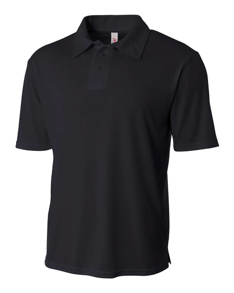 A4 N3261 Solid Interlock Performance Polo - Black