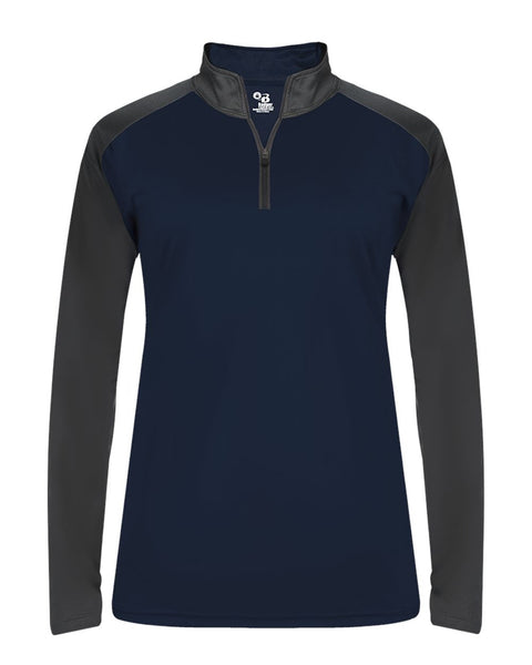Badger 4008 Ultimate Softlock Sport Ladies 1/4 Zip - Navy Graphite - Outerwear - Hit A Double - 1