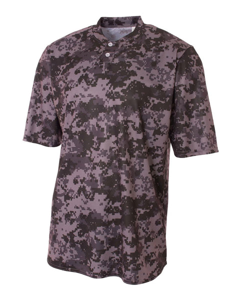 A4 N3263 Camo 2-Button Henley - Graphite Camo - HIT A Double