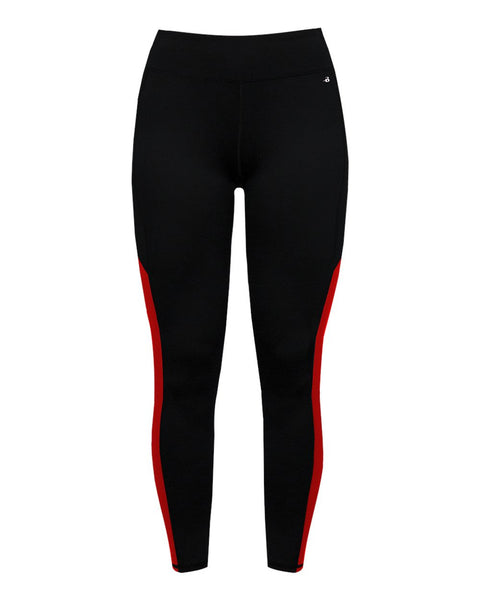 Badger 4637 Panel Ladies Tight - Black Red - Compression - Hit A Double - 1