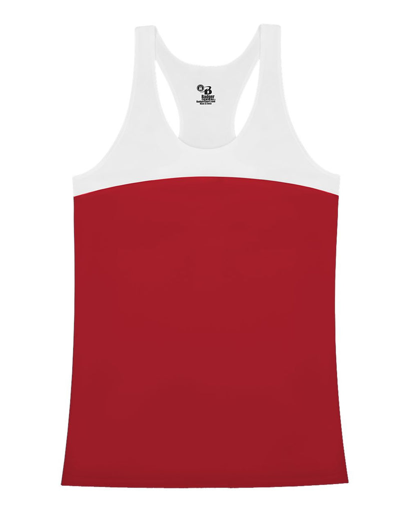 Badger 4136 Double Back Tank - Red White