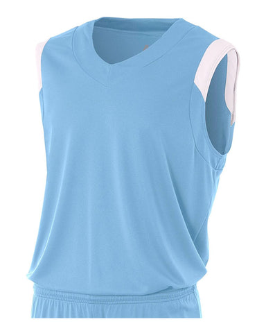 A4 N2340 Moisture Management V-neck Muscle - Light Blue White