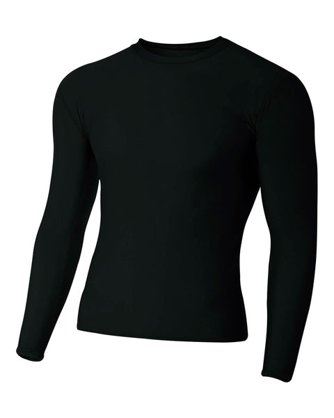 A4 N3133 Long Sleeve Compression Crew - Black