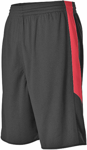 Alleson 589PSP Adult Single Ply Reversible Short - Black Scarlet