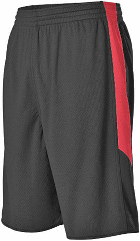 Alleson 589PSPY Youth Single Ply Reversible Short - Black Scarlet
