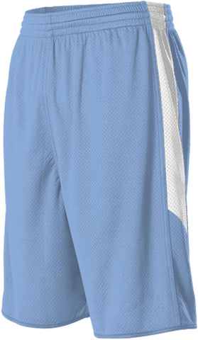Alleson 589PSPY Youth Single Ply Reversible Short - Columbia Blue White