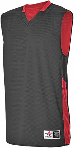 Alleson 589RSPY Youth Single Ply Reversible Jersey - Black Scarlet
