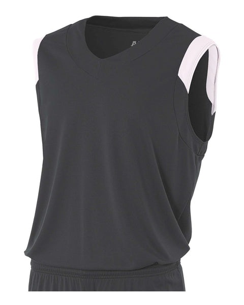A4 N2340 Moisture Management V-neck Muscle - Graphite White
