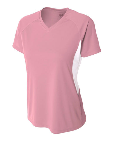 A4 NW3223 Women's Color Block Performance V-Neck - Pink White