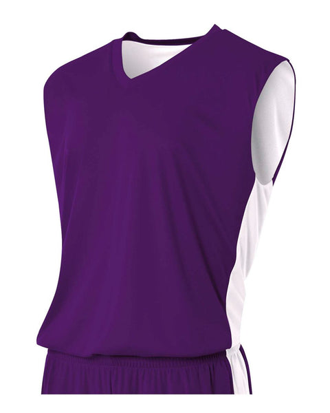 A4 NB2320 Youth Reversible Moisture Management Muscle - Purple White