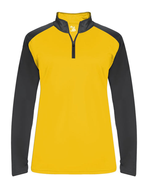 Badger 4008 Ultimate Softlock Sport Ladies 1/4 Zip - Gold Graphite