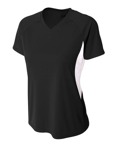 A4 NW3223 Women's Color Block Performance V-Neck - Black White